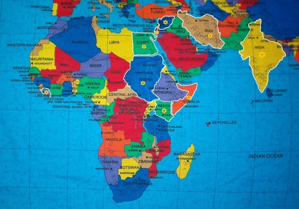 Liberia, Somalia, Sudan, Eqypt, Ethiopia, Kenya, Jerusalum, Isreal, Syria, Iran, and India